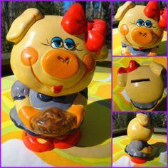 VTG 1960s Retro Ceramic Girl Pig Piggy with Pie Bank Groovy Childhood