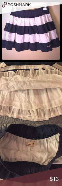 """HOLLISTER blue & white Nautical skirt Fluffy, flouncy miniskirt. Looks amazing with white or red for a patriotic look. Elastic waist, fun easy to wear skirt. Length 14"""" waist 12""""!! Hollister Skirts Mini"""