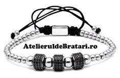 Bratara dama cu Argint 925 cu 3 tuburi negre cu cristale Zirconia este impletita manual. Acest model de bratara de dama cu Argint 925 cu 3 tuburi negre cu cristale Zirconia este ambalata intr-o cutie cadou sau saculet de catifea si poate fi cadoul ideal pentru o zi aniversara sau onomastica. Skull Bracelet, Stone Bracelet, Bracelet Set, Bracelets For Men, Fashion Bracelets, Beaded Bracelets, Charm Bracelets, Beaded Skull, Stone Beads