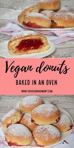 Vegan Dessert Recipes, Donut Recipes, Vegan Breakfast Recipes, Delicious Vegan Recipes, Dairy Free Recipes, Real Food Recipes, Cooking Recipes, Yummy Food, Vegan Treats