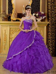 Eggplant Purple Strapless Organza Dresses for Quince Decorated Appliques
