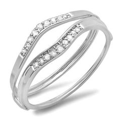 0.12 Carat (ctw) 10K White Gold Round White Diamond Ladies Anniversary Enhancer Guard Wedding Band