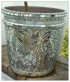 Nicky Lipschitz Mosaic Art: Twin Mirror Mosaic Pots