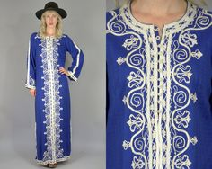 70s Dashiki Dress Cobalt Blue Full Length Ethnic Bohemian Hippie Embroidered Festival Maxi Dress  This Dashiki dress is in great vintage