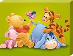 "baby pooh and friends | 30cm x 22cm (12"" x 9"") Canvas Print"