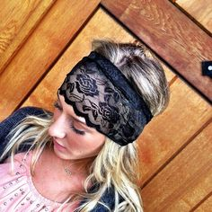 Black Lace Headband Stretchy Lace Head Wrap  by ThreeBirdNest, $18.50..i'm clearly obsessed with these!
