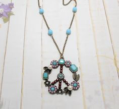 Antique Bronze Bohemian Peace Sign Necklace by SpiritualPathways, $15.00