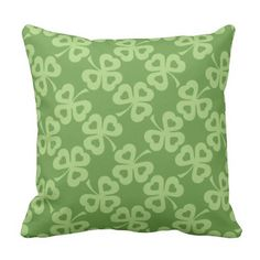 Shamrocks and Hearts Pattern Outdoor Pillow Outdoor Throw Pillows, Decorative Throw Pillows, Heart Patterns, Hearts, Green, Accent Pillows, Decor Pillows