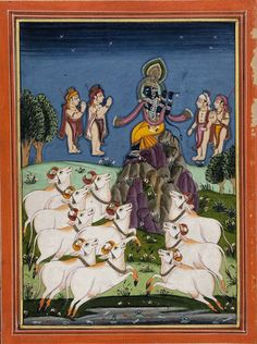 Krishna Fluting with Cows and Adoring Figures in Landscape.   18th-19th century. Unknown artist.  Indian (Deccan)