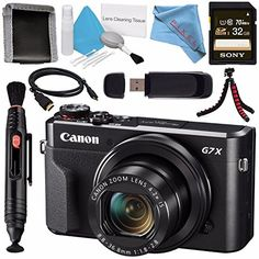 Canon PowerShot G7 X Mark II Digital Camera 1066C001  Sony 32GB SDHC Card  Deluxe Cleaning Kit  Memory Card Wallet  Card Reader  Micro HDMI Cable  Lens Pen Cleaner  Fibercloth  Tripod Bundle *** Learn more by visiting the image link.