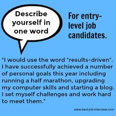 Interview Questions with Sample Interview Answers Describe yourself in one word -answers for entry-level job candidates.Describe yourself in one word -answers for entry-level job candidates. Sample Interview Answers, Job Interview Preparation, Interview Skills, Job Interview Tips, Job Interview Questions, Job Interviews, Job Resume, Resume Tips, Resume Skills