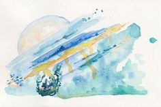 """""""Trestle"""" Abstract watercolor painting by Kendra Castillo"""