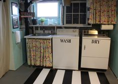 Cute laundry room transformation - curtain and chalkboard looks cute.