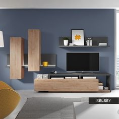 Reinvent your living room in an instant with the Helvetia Bota Entertainment Center . This set includes a TV stand, wall-mounted cabinet, and shelf,. Cool Furniture, Furniture Sets, Furniture Websites, Furniture Logo, Furniture Design, Contemporary Entertainment Center, Entertainment Centers, Armoire Ikea, Tv Stand Set