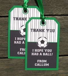 Soccer Party Thank You Tags