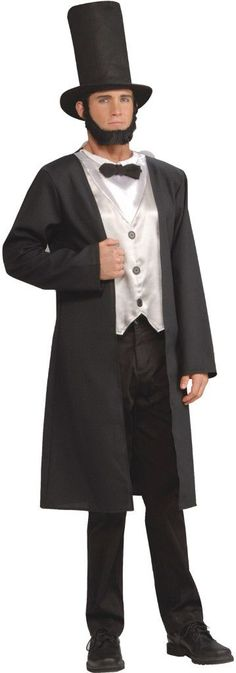 Abe Lincoln Adult CostumeIncludes: Stovepipe hat, beard, jacket with attached shirt front, vest and tie. Pants not included.Size: Standard (One-Size)Color: BlackGender: MaleAge Group: AdultOccasion: H