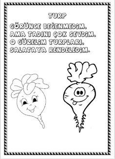 Tutum,Yatırım ve Türk Malları Haftası Sebzeler ve Meyveler Konuşuyor Şiirli Boyama Sayfaları Çiğdem Öğretmen Preschool Colors, Malta, Snoopy, Fictional Characters, Malt Beer, Fantasy Characters, Kindergarten Colors