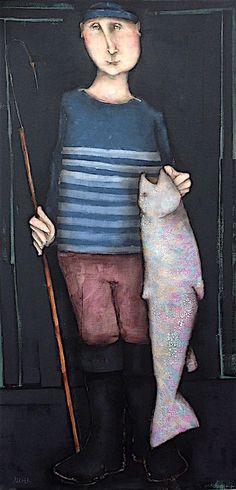 Le pêcheur 100x50 cm Quirky Art, Whimsical Art, Unique Art, Boat Art, Art Original, Naive Art, Fish Art, Art Plastique, Contemporary Paintings