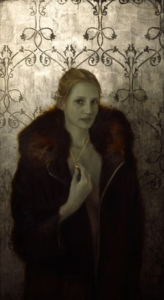 Brad Kunkle Locket & The Fur Coat, 44 x 24 inches, Oil and gold and silver on wood, Private collection