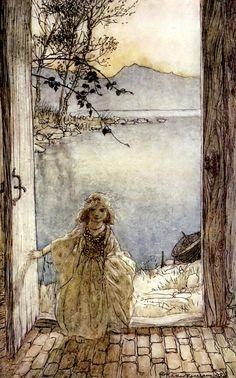 A beautiful little girl clad in rich garments stood there on the threshold smiling - Undine by de la Motte Fouqué, 1909