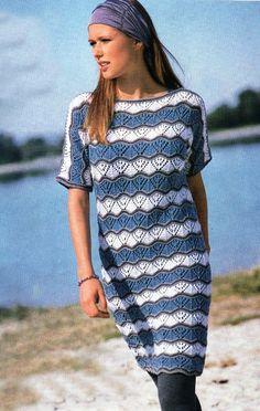 Полосатое платье-туника спицами. Обсуждение на LiveInternet - Российский Сервис Онлайн-Дневников