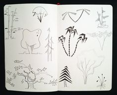 Day 95: Trees, all shapes and sizes * inspired by architectural illustrations