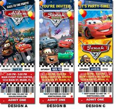Disney Cars Birthday Ticket Invitation Printable By Uprintparty