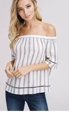 48232dff906ad2 Off Shoulder White and Grey Vertical Striped Top