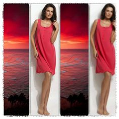 That «red» hour of the day, everything you need is a soft touch on your tanned skin... http://www.vampfashion.com/index.php/collections/P944-ladies-nightgown-100-cotton #vampfashion #nightgown #sunset