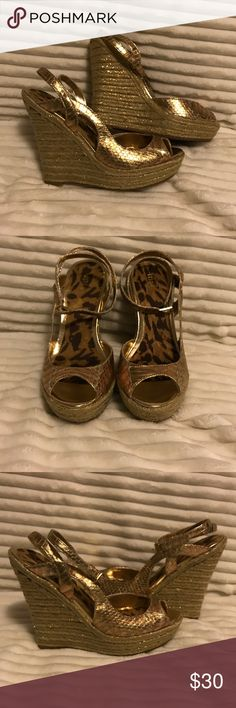 Gold wedges Brand new with box. Gold metallic wedges. Straps around ankle Shoes Wedges