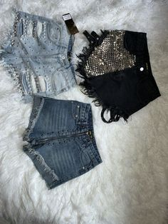Cute Swag Outfits, Casual Outfits, Denim Fashion, Look Fashion, Look Con Short, Estilo Jeans, Diy Shorts, Embellished Jeans, Diy Clothes