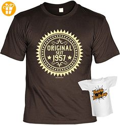 Geburtstag T-Shirt 60 Jahre - Original seit 1957 Shirt 4 Heroes bedruckt Geschenk Set mit Mini Flaschenshirt (*Partner-Link)