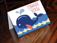 Blue Whale Thank You Cards by SassyPartyDesigns on Etsy, $6.00