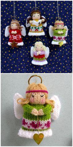Knitted Christmas Decorations Patterns - The WHOot Knitted Christmas Decorations, Christmas Sweaters, Christmas Ornaments, Christmas Things, Xmas, Knitted Socks Free Pattern, Crochet Angel Pattern, Animal Knitting Patterns, Christmas Knitting Patterns