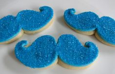 Glittery Moustache Cookies...you can wear them and eat them too! lol