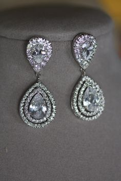 Bridal Clip On Earrings Wedding Swarovski Crystal Chandelier Drop