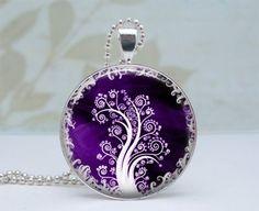 White Tree in Purple Pendant - Glass Dome Silver Necklace