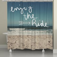 Laural Home Ocean Inspiration Shower Curtain Beach Scenes Bath Towels Bed