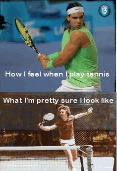This is probably what I look like now but at the end of the season i'll be rocking it! #tennisfunny