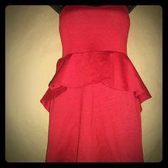 Peach Love Cream - Red - extreme Peplum Dress Cocktail style dress. Peplum detail. Strapless. Peach Love Cream  Dresses Mini