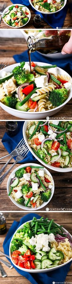 A simple go-to salad that can easily be made in advance. Veggie Pasta, Veggie Tales, Soup And Salad, Pasta Salad, Salad Bar, Cooking Recipes, Healthy Recipes, Clean Recipes, Skinny Recipes