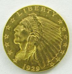 Lot 84 in the 11.19.13 online & live auction! 1929 Indian Head $2.50 United States Gold Coin. 4.18g of 90% Gold. 532,000 minted. #Coin #Currency #Bullion #POGAuctions