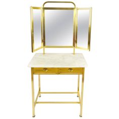 1930s French Marble and Brass Dressing Table | From a unique collection of antique and modern vanities at https://www.1stdibs.com/furniture/tables/vanities/