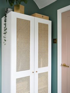 Our Rattan Cane IKEA Wardrobe Hack for under made by my brilliant husband Ikea Wardrobe Hack, Wardrobe Organisation, Diy Wardrobe, Wardrobe Doors, Wardrobe Design, Organisation Ideas, Small Wardrobe, Small Closets, Wardrobe Storage
