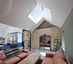 """Scullion architects has converted a Georgian terraced house in Dublin from three bed-sits into an """"upside-down house"""" with a charred larch extension. Contemporary Architecture, Interior Architecture, Interior Design, Dublin Apartment, Upside Down House, Dublin House, Georgian Terrace, Old Brick Wall, European Home Decor"""