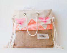 Neon Pink Orange Beach Bag Tribal Print Tote Canvas Jute - The Sandbag - Surf Tribe Boho Aztec