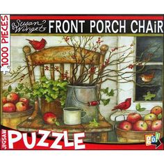 Susan Winget Front Porch Chair 1000 Piece Puzzle: Enjoy the crisp, cool air and a sweet and juicy apple while piecing together this charming puzzle featuring a quaint front porch chair surrounded by branches of berries, red cardinals, and buckets of delicious apples. Artwork by Susan Winget.  http://www.calendars.com/Susan-Winget/Susan-Winget-Front-Porch-Chair-1000-Piece-Puzzle/prod201300018537/?categoryId=cat200024=cat200024