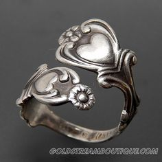 VINTAGE AVON STERLING SILVER FLOWERS HEARTS BYPASS SPOON ADJUSTABLE RING
