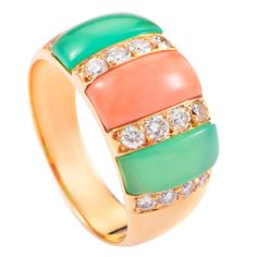Van Cleef & Arpels Coral Chrysoprase Gold Ring