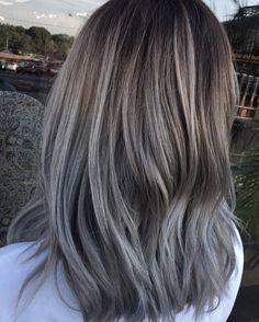Silver balayage #cowanhair // @hairandmakeupaba Grey Blonde Hair, Grey Hair Don't Care, Ash Hair, Brown Blonde Hair, Hairstyles Haircuts, Pretty Hairstyles, Hair Inspo, Hair Inspiration, Hair Color And Cut